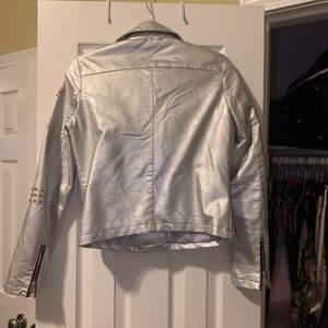Jackets & Coats - Embroidered Faux Leather Metallic Jacket